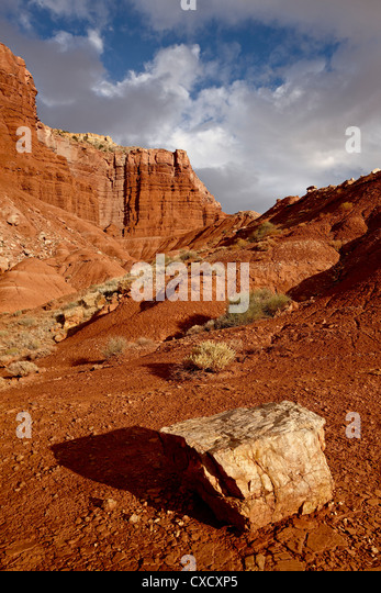 Rock in the badlands, Capitol Reef National Park, Utah, United States of America, North America - Stock Image