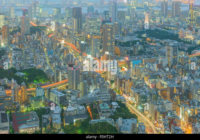 Tokyo, Japan cityscape and highways - Stock Image