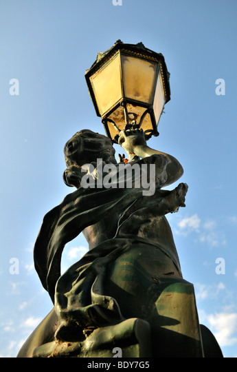 Artistically designed street lamp with female figure, Chiado district of Lisbon, Portugal, Europe - Stock-Bilder