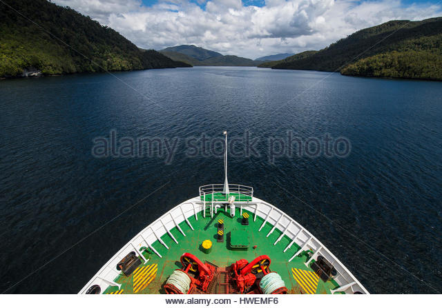 Bow of a ferry crossing the Patagonian fjords, Chile - Stock-Bilder