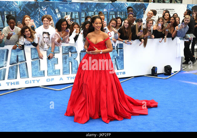 London, UK. 24th July, 2017. Rihanna, Valerian and The City of a Thousand Planets - European film premiere, Leicester - Stock Image