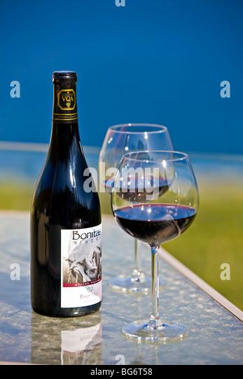 Bottle wine on terrace table stock photos bottle wine on for 7 summerland terrace