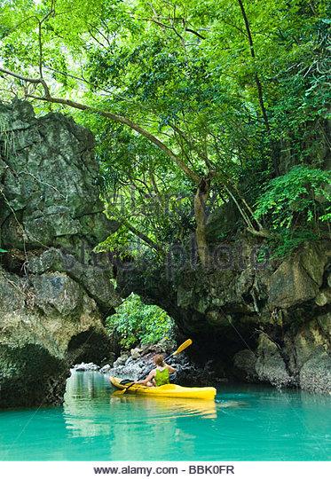 Kayaking in Phang Nga Bay, Thailand - Stock Image