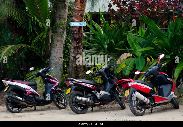 Motorbikes parking on Sep 16 2013.It's one of the must popular activity in the Island but Cook Islands Driver's - Stock Image