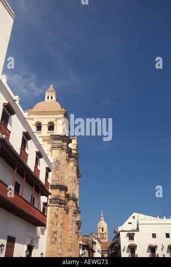Cartagena Colombia South America Old City Skyline Cathedral in Distance - Stock Image