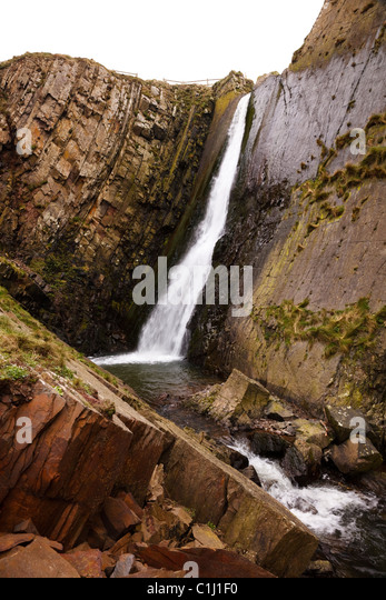 Waterfall at Speke's Mill Mouth, near Hartland Quay, Devon. - Stock Image