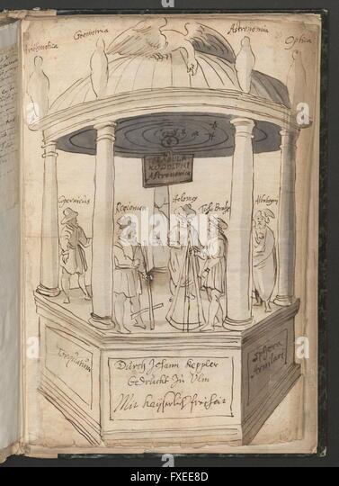 Cod. 9737d, fol. 39r: Briefe des Johannes Kepler: Berühmte Astronomen und Personifikationen der Wissenschaften - Stock Image