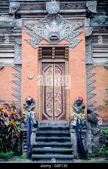 Carved door in bali stock photos