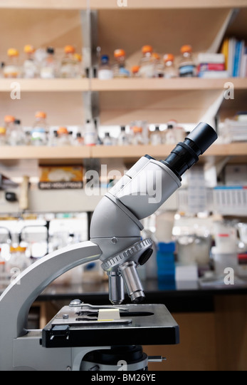 Close-up of a microscope in a laboratory - Stock Image