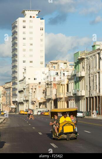 Cuba, Ciudad de la Habana province, La Havana, coco tax on the Malecon - Stock Image