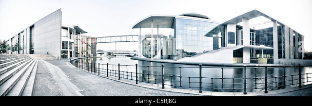 Paul-Loebe-Haus and Marie-Elisabeth-Lueders-Haus buildings at dawn, Regierungsviertel government district, Berlin, - Stock Image