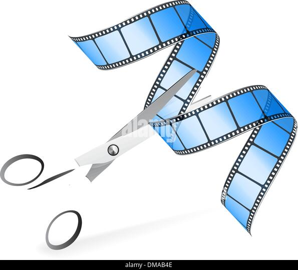 Scissors and film strip as video editing concept - Stock Image