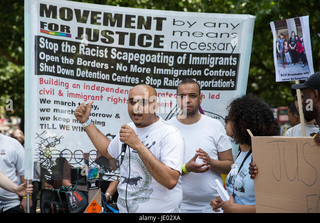 London, UK. 21st June, 2017. Activists from Movement For Justice By Any Means Necessary hold a 'Day of Rage' - Stock Image