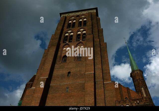 Looking upwards at St Mary's Church in Gdansk, Poland, central/eastern Europe. June 2017. - Stock Image