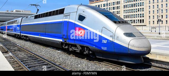 High speed train close up France aerodynamics SNCF TGV high speed passenger train at Marseille French railway station - Stock Image