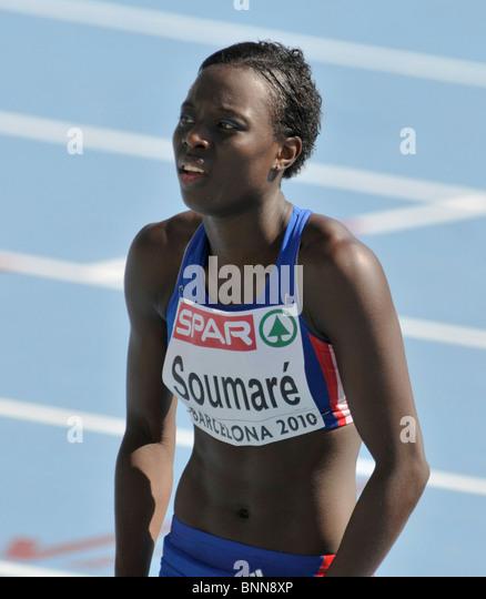 28.7.2010 European Athletics Championships in Barcelona, Spain; Myriam SOUMARE (FRA), 100m heat - Stock Image
