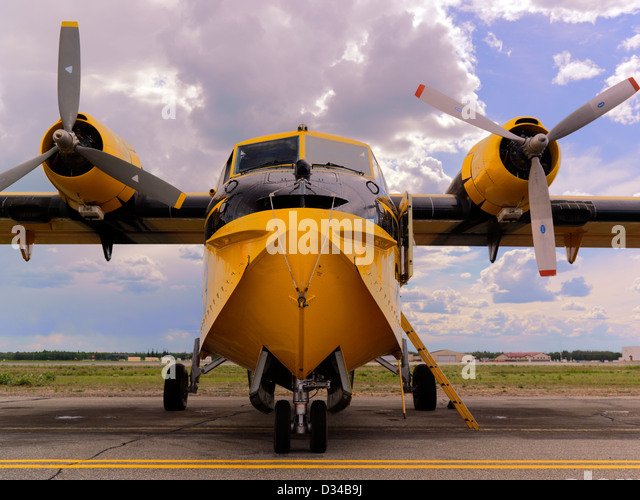 CanadAir CL 215 scooper twin engine forest fire water boomer firefighting aircraft working forest fires in Alaska - Stock Image