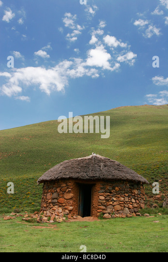 Typical rondavel Hut in the Lesotho highlands - Stock Image
