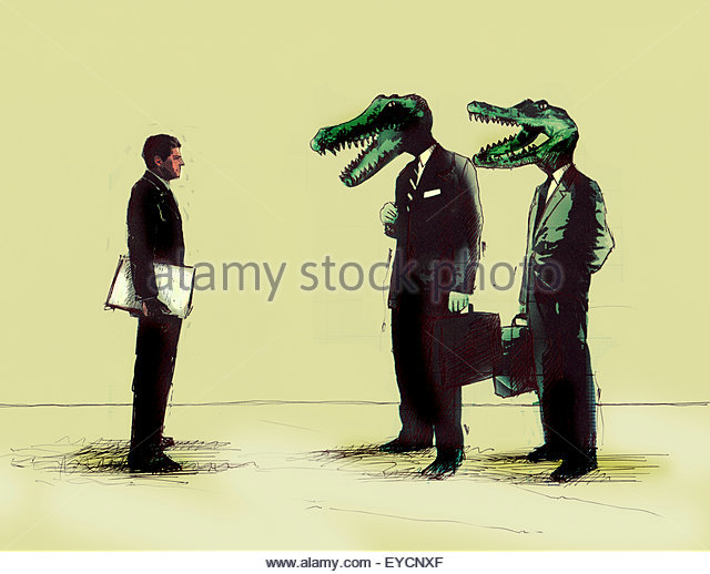 Businessman meeting businessmen with crocodile heads - Stock Image