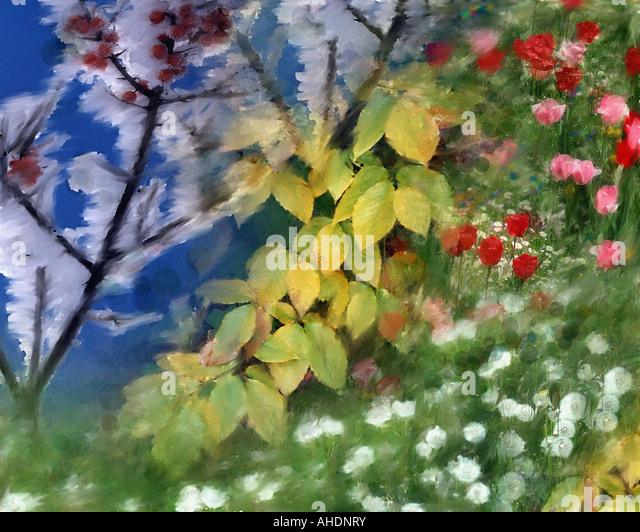 DIGITAL ART: Four Seasons - Stock Image