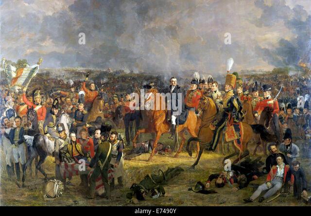 The Battle of Waterloo - by Jan Willem Pieneman, 1824 - Stock Image