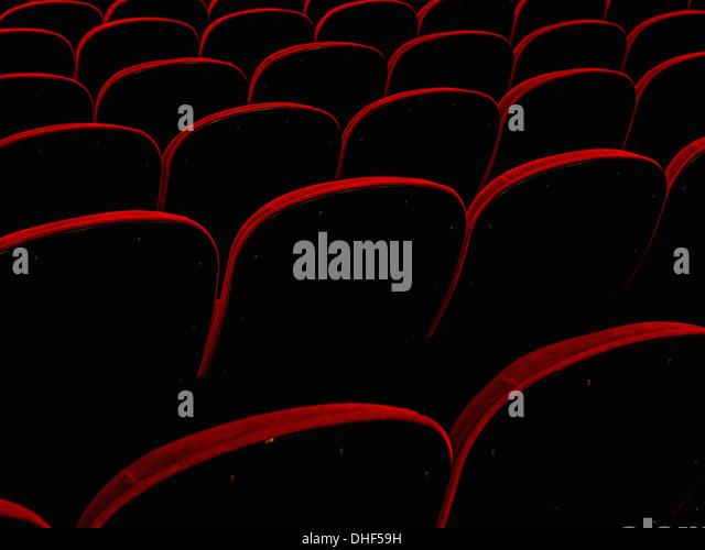 Empty retro cinema seats - Stock Image