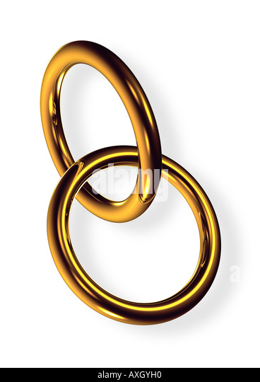 2 rings symbol for marriage fusion 2 Ringe ineinander verschränkt Symbol für Fusion Heirat - Stock Image