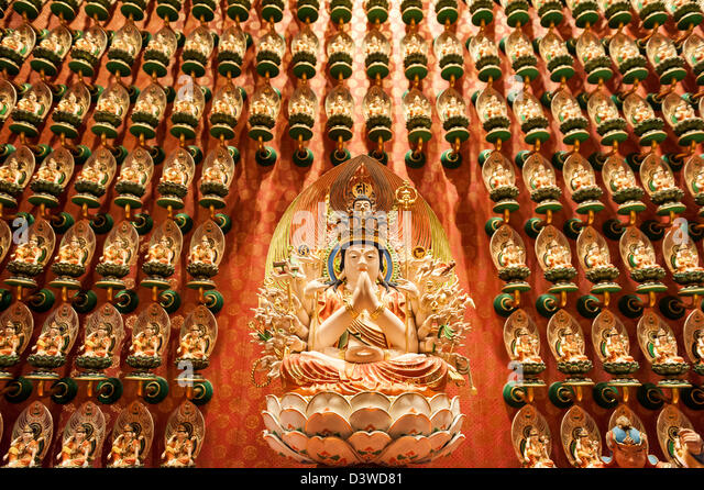 Statue of Budha, Tooth Relic temple, Singapur, Asia - Stock Image