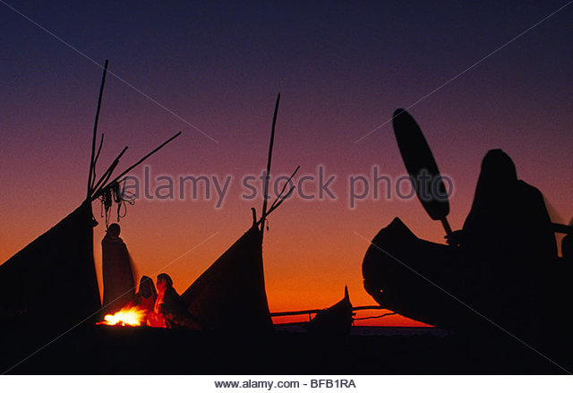 Vezo fishermen camping on beach, Western Madagascar - Stock Image