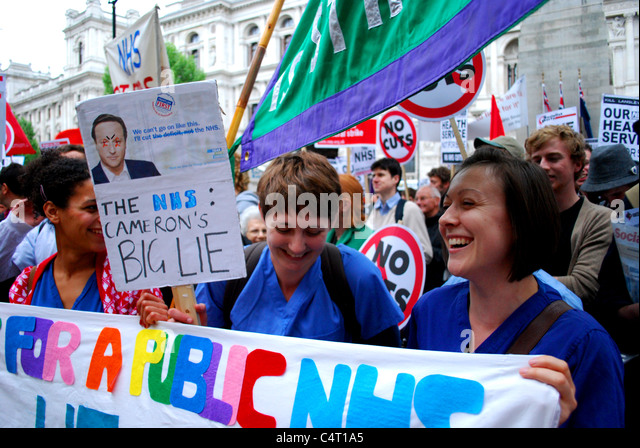 Digital photographs of 17th May  march from UCH to Whitehall, in protest against government plans for the NHS. - Stock Image