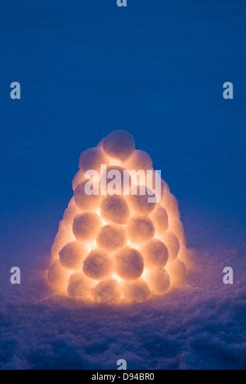 Illuminated snowball lantern - Stock-Bilder
