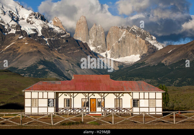Traditional hacienda (farm house). Torres del Paine National Park. Patagonia. Chile - Stock Image