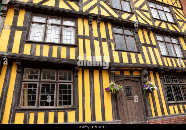 Wattle & daub half timbered building on Broad Street Ludlow Shropshire UK - Stock Image