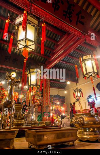 Interior view of Man Mo Temple at Hollywood Road, Hong Kong, China - Stock Image