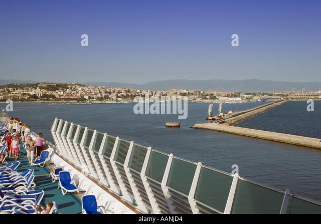 Passengers on a Cruise Ship leaving Cagliari, Sardinia, - Stock Image