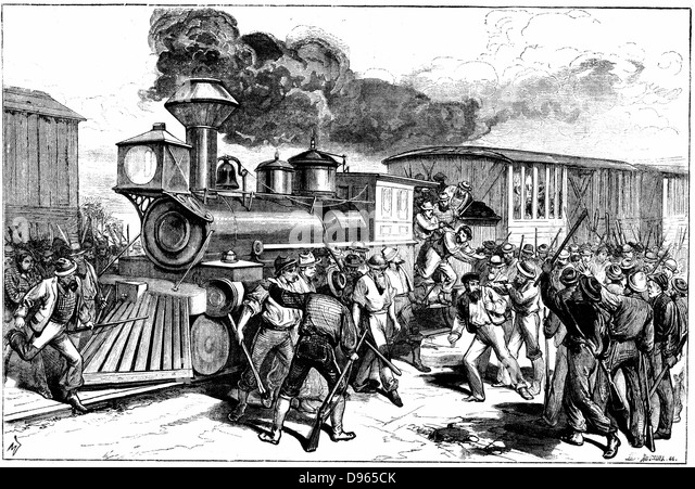 Riot by railway workers at Martinsbury on the Baltimore and Ohio Railroad. Workers went on strike when the Company - Stock-Bilder