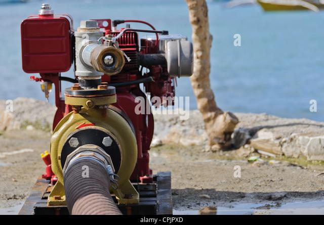 Portable Water Pump Firefighting Equipment - Sabang, Puerto Galera, Oriental Mindoro, Philippines, Southeast Asia - Stock Image