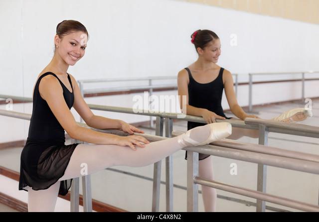 Female ballet dancer exercising at school in Havana, Cuba - Stock Image