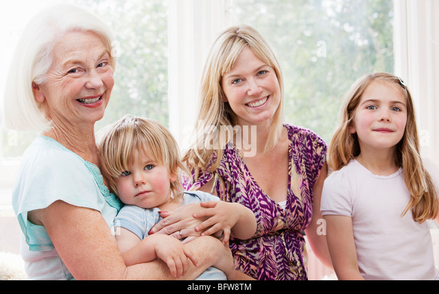 Granny, mother, daughter and grandson - Stock Image