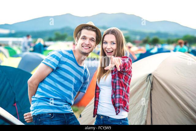 Teens at summer festival - Stock-Bilder