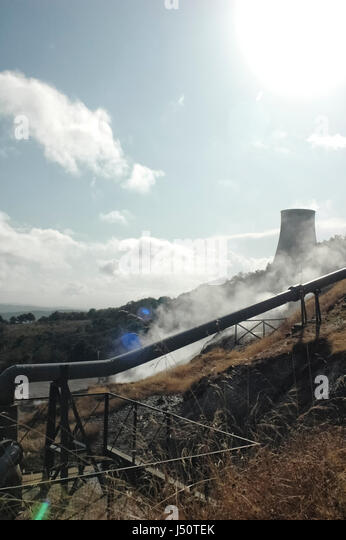 View of a geothermal energy power plant - Stock Image