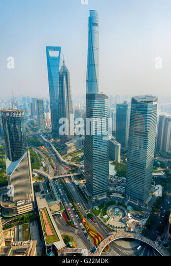 Shanghai Skyline with its newly built  iconic skyscrapers. - Stock Image