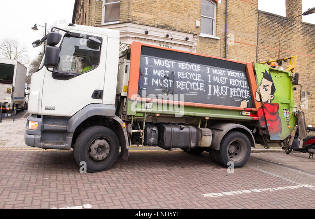 Recycling lorry, London, England, UK - Stock Image
