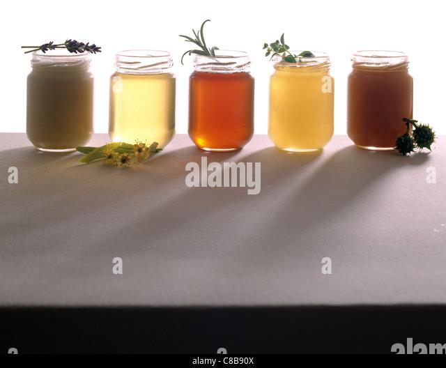 jars of honey - Stock Image