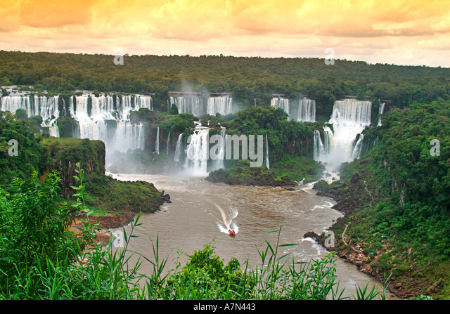 Brazil Iguazu Falls spectacular view tour boat  - Stock Image