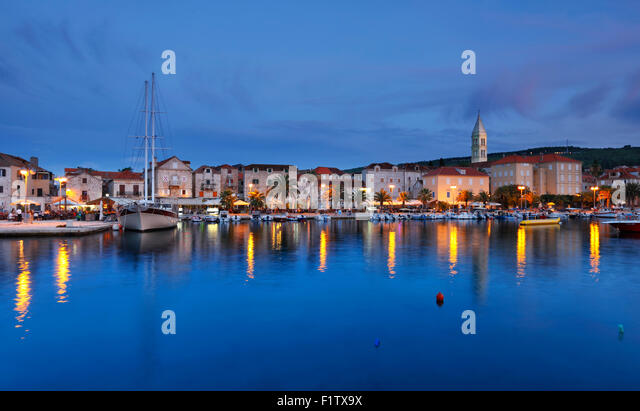 Supetar town on island Brac at evening. - Stock-Bilder