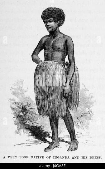 Stanley Founding of Congo Free State 31 A very poor Native of Inganda and his Dress - Stock-Bilder