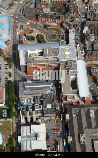 aerial view of the LGI, Leeds General Infirmary hospital - Stock Image