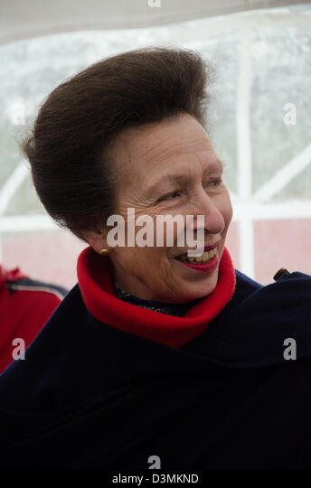 Gloucester, UK. 21st February 2013.  The Princess Royal opens the new Athletics Track at Gloucester Athletics Club. - Stock Image