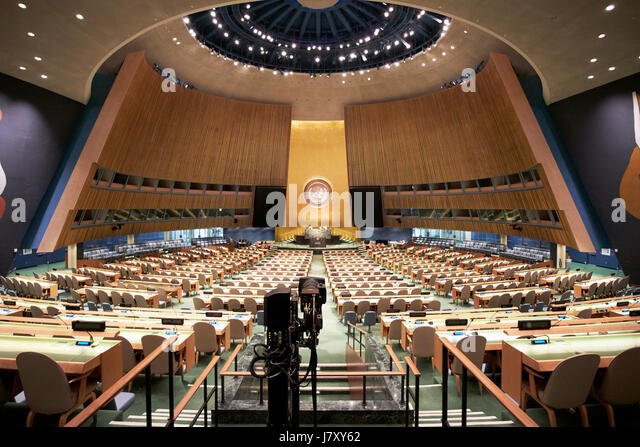 general assembly chamber hall at the United Nations headquarters building New York City USA - Stock Image